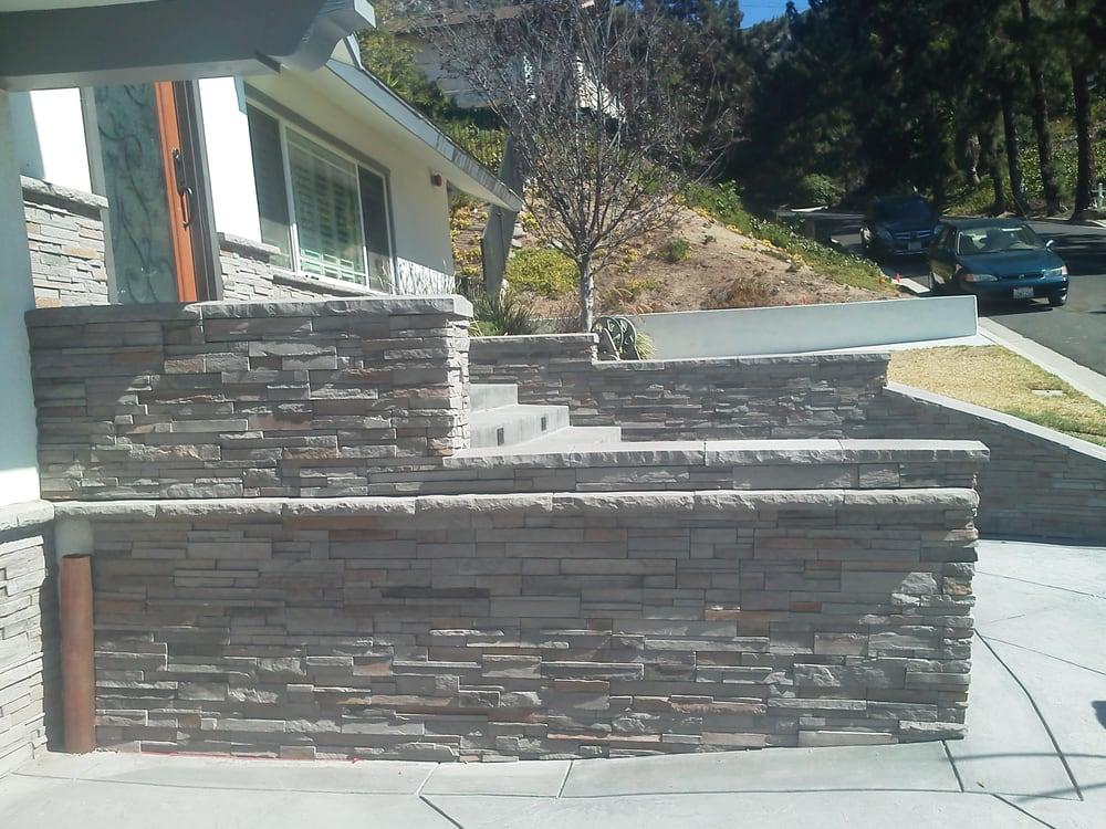 gray ledger stone veneer on retaining wall in la canada yelp