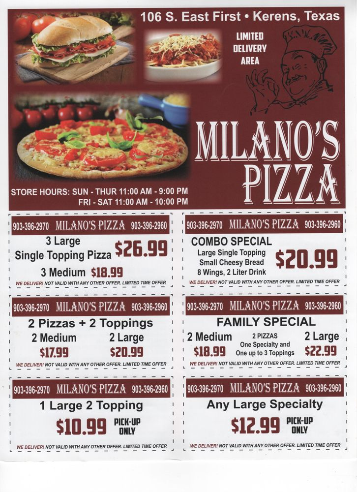 Milano's Pizza: 106 S E First St, Kerens, TX