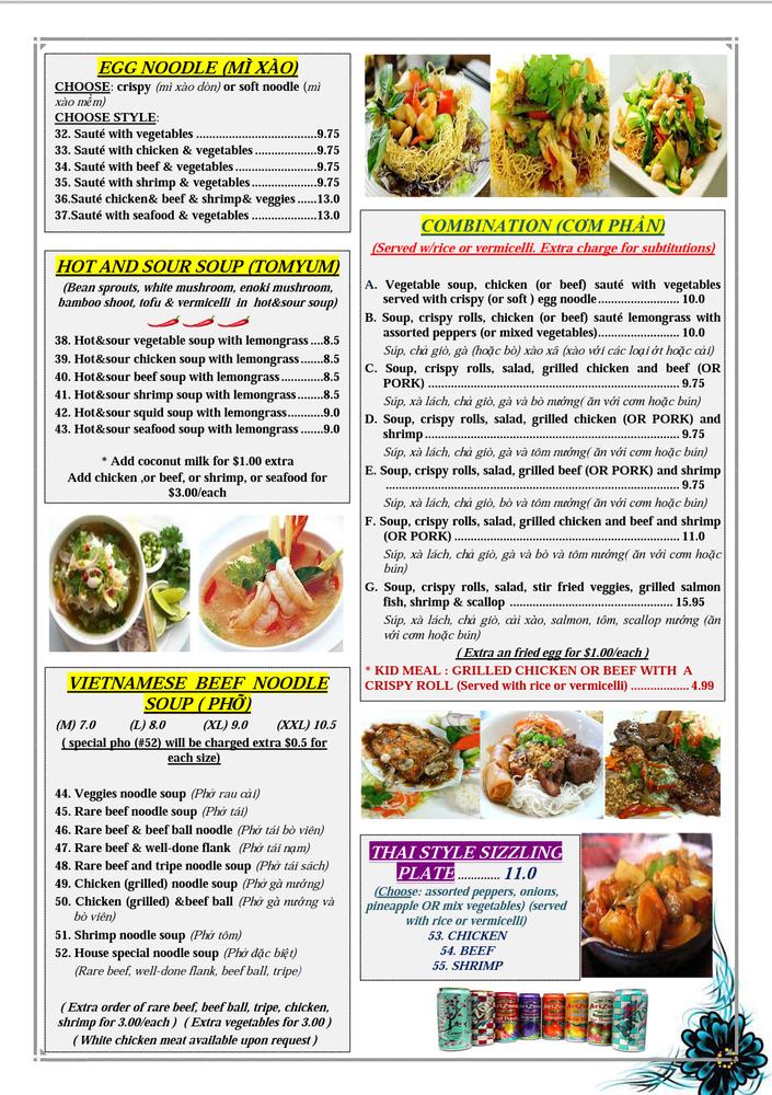 Viet Thai Basil Restaurant Menu