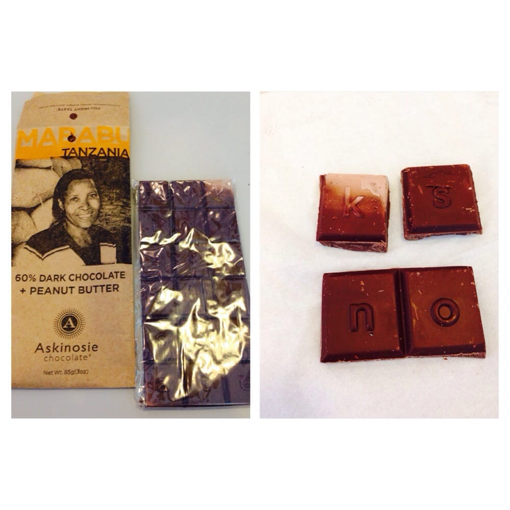 Askinosie Chocolate $8 bar - this is 60% dark chocolate & peanut ...