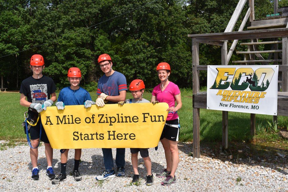Eco Adventure Ziplines: 489 S Hwy 19, New Florence, MO