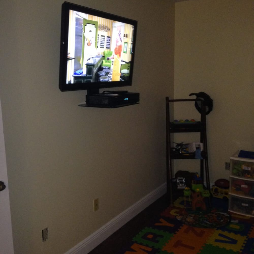 kids room tv installation and tv mounting with component shelf rh yelp com
