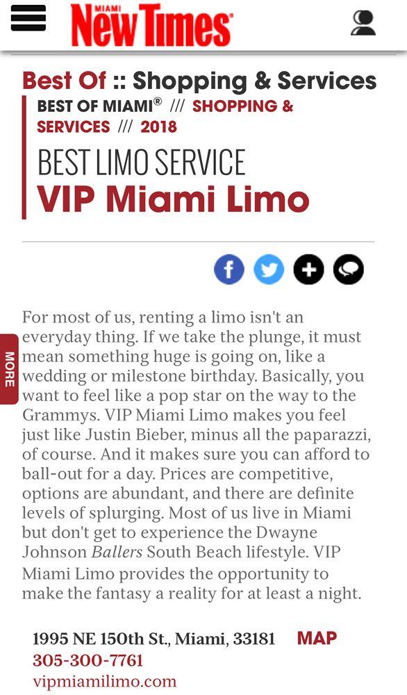 VIP Miami Limo: 1995 NE 150th St, Miami, FL