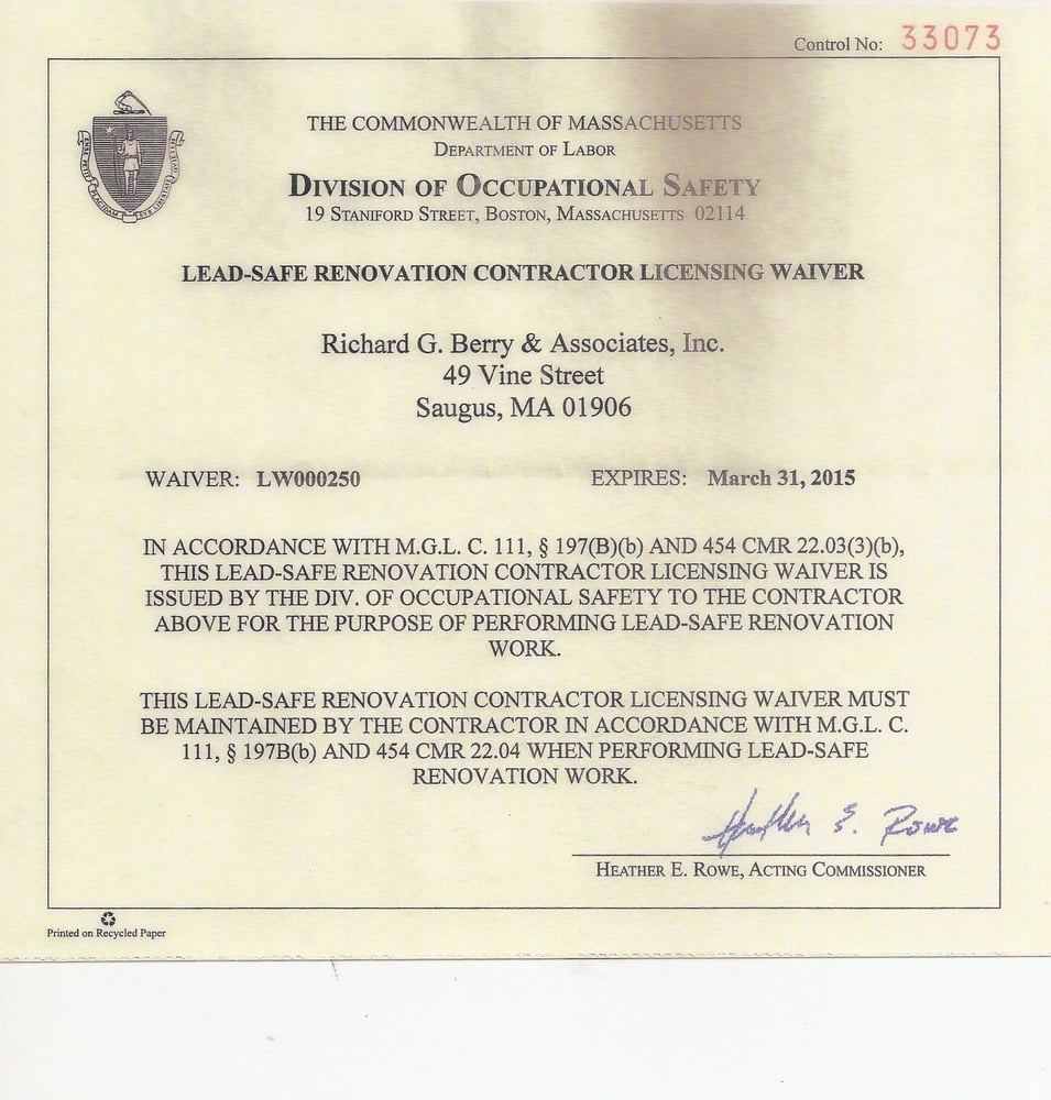 Required Massachusetts Lead Safe Certification To Work In Homes