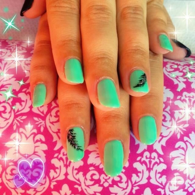 Mint green gelish manicure with black thumb nails. Black feather ...