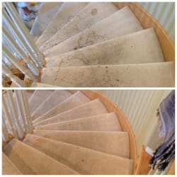 Truly Dry Carpet Cleaning - Stairs before and after - heavily penetrated with pet urine - Santa Clarita, CA, United States