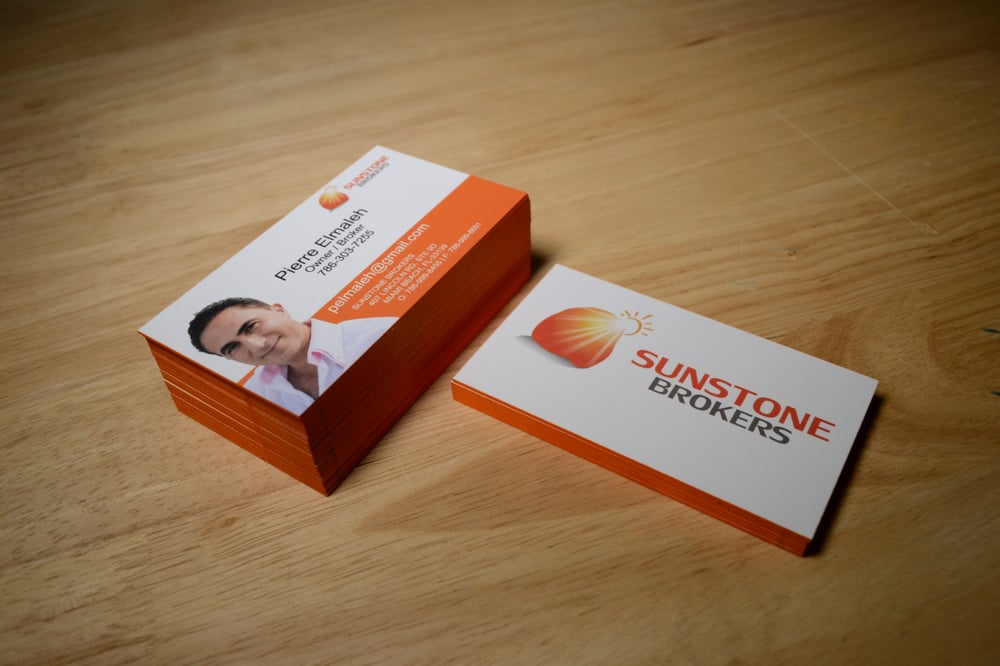 Painted Edge Business Cards printed on 16pt Silk Laminated