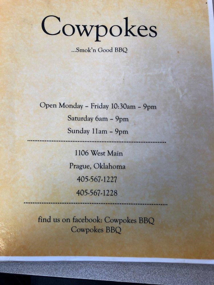 Cowpokes BBQ Diner: 1106 W Main St, Prague, OK