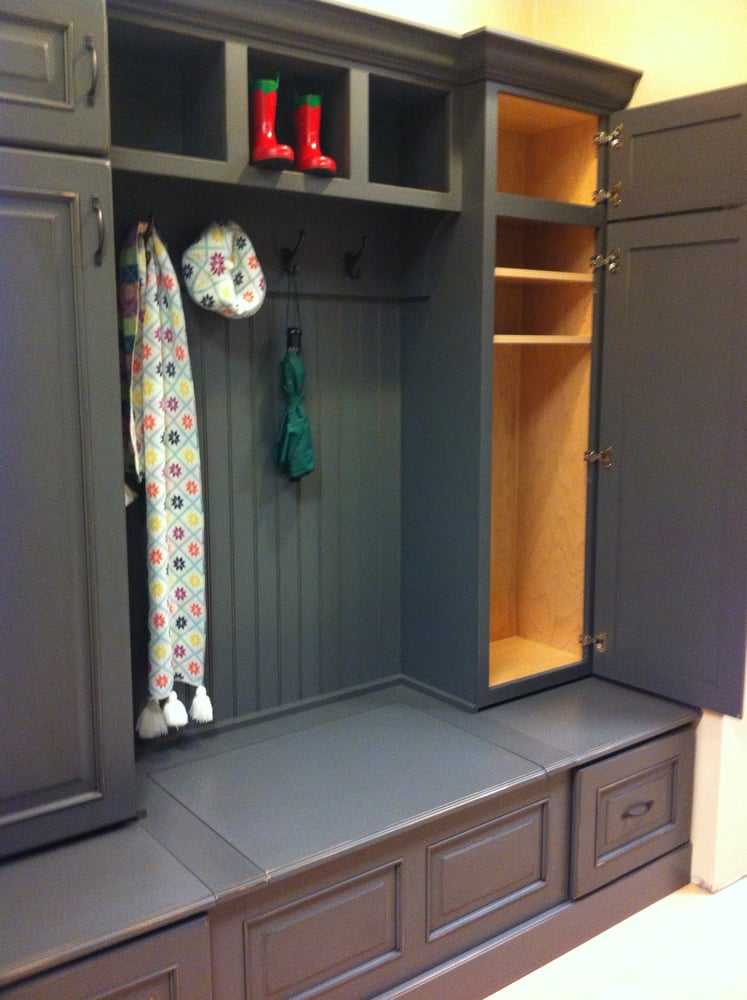 Our designers can help design boot bench mudroom and window seat cabinetry with terrific for Carole kitchen and bath design ma