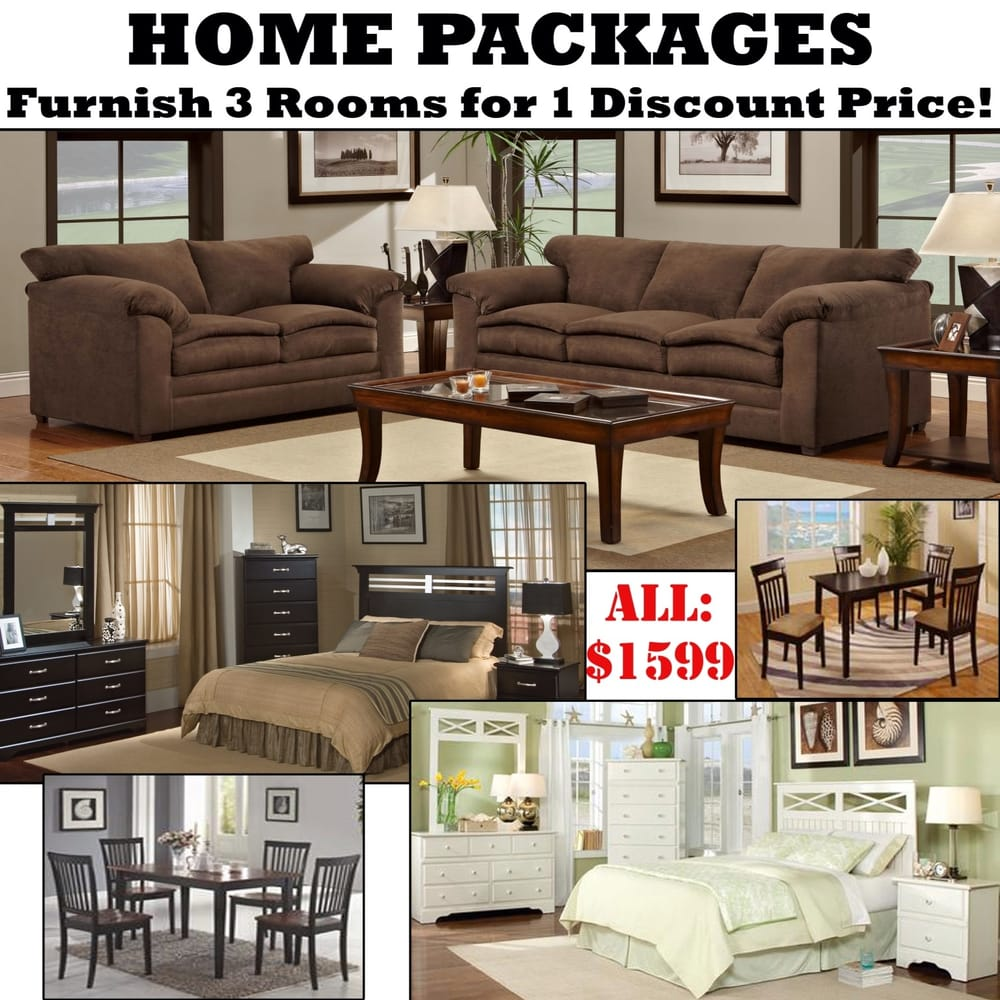 Furniture Store Cheap Prices: Home Packages, With 3 Rooms Of Furniture For 1 Discount