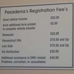 Pasadena motor vehicle registration transfer service for Florida motor vehicle number
