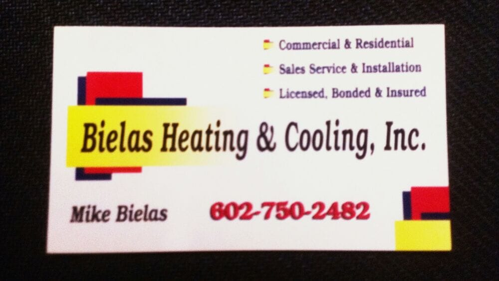 Heating and cooling business cards arts arts business card licensed bonded insured all future service will reheart