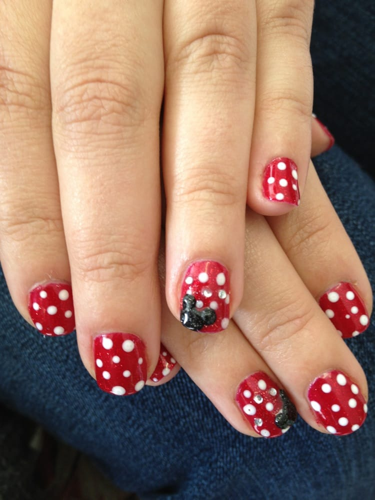 Disney Themed Gelish Nails With 3d Acrylic Mickey Mouse Ears Yelp