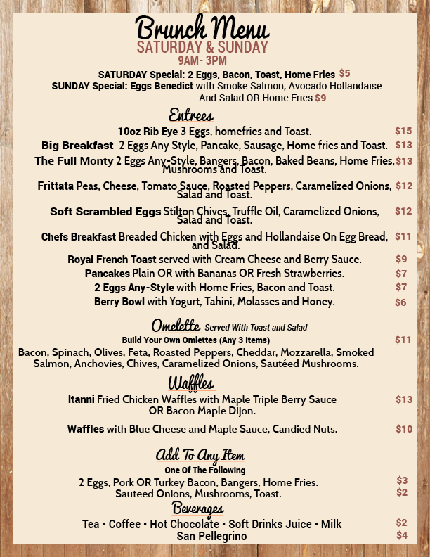 New brunch menu 2015 i 39 m a menu item no joke look for The table restaurant menu