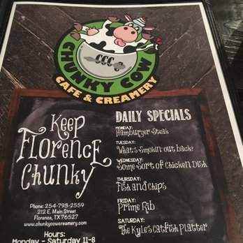 Chunky Cow Cafe And Creamery Menu