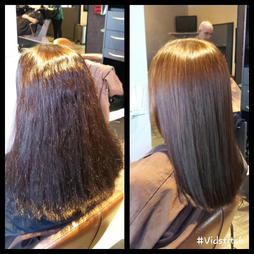 Before And After Keratin Smoothing Treatment And Olaplex