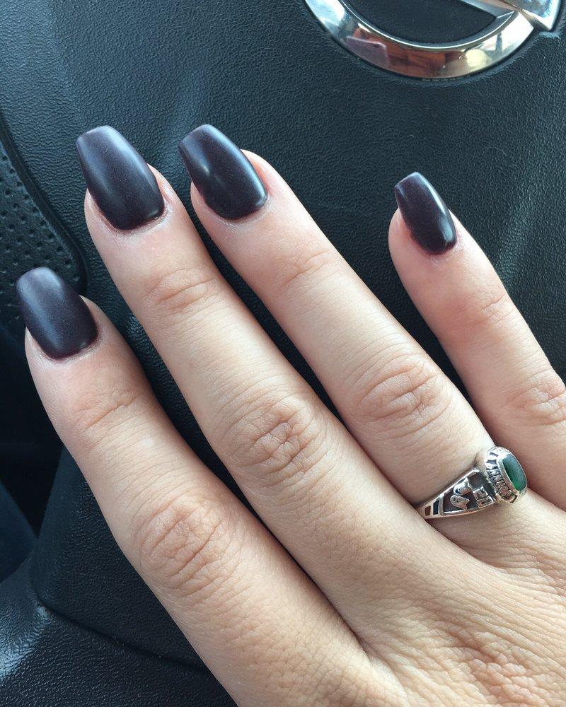 Deep purple, matte, coffin shaped SNS nails. - Yelp