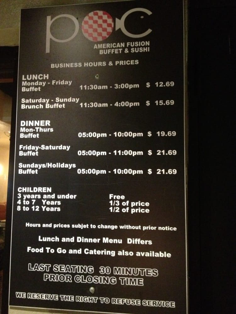 business hours and prices yelp rh yelp com POC American Fusion POC American Fusion