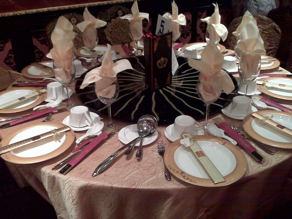 Table setting complete with napkins folded in Bishop\'s Mitre for our ...
