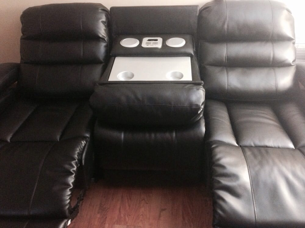 Sofa With The Middle Section Down That Reveals The Stero Speaker System Yelp