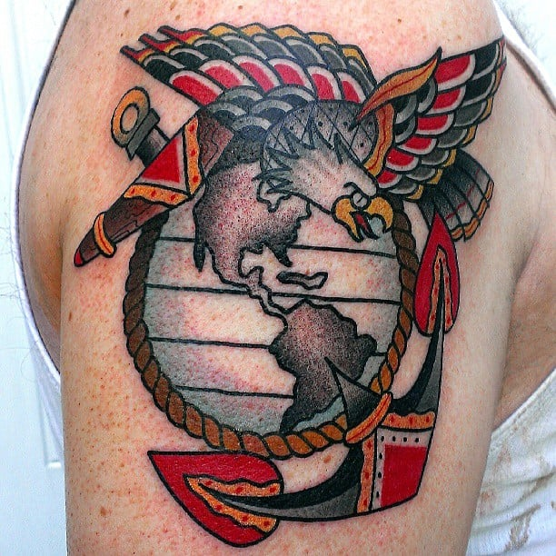 American traditional take on the marine corps eagle globe for United states tattoo