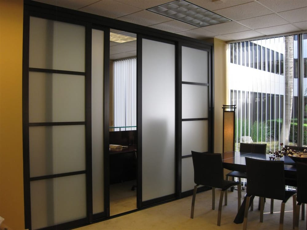 Room divider with frosted glass yelp for Sliding door company
