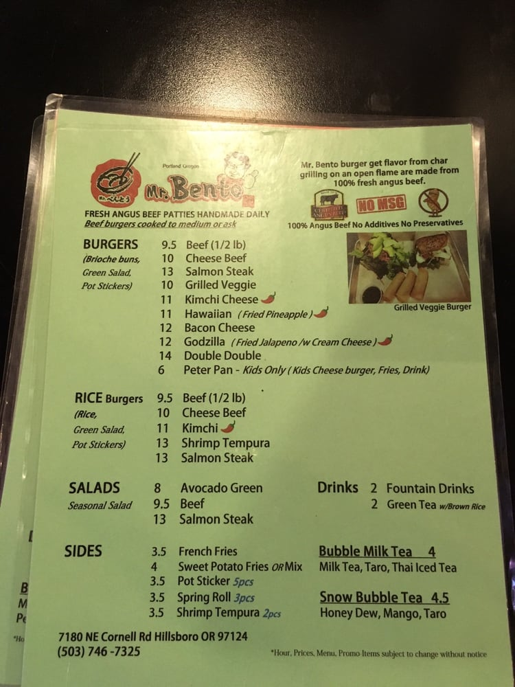 Menu With Variety Of Choices Yelp