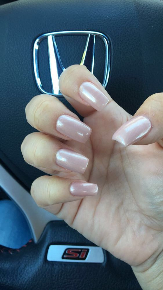 Short nude acrylic nails by Tammy - Yelp