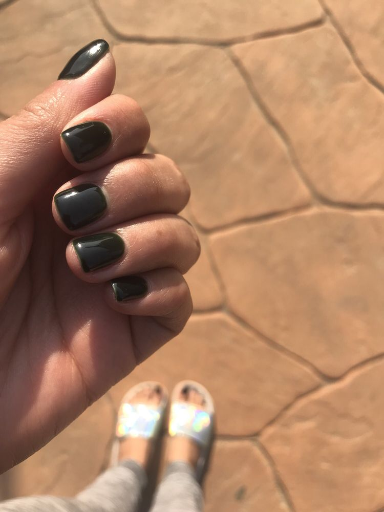 Gel mani, photo doesn't show the color well  It's a dark forest
