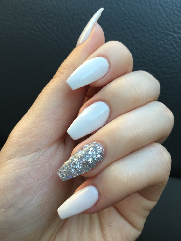 Nexgen White And Glitter Coffin Nails Yelp