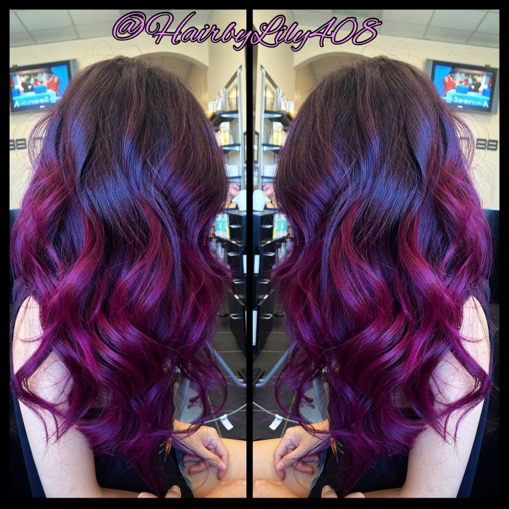 Pink Purple Ombr 233 Balayage And Long Layer Haircut Yelp