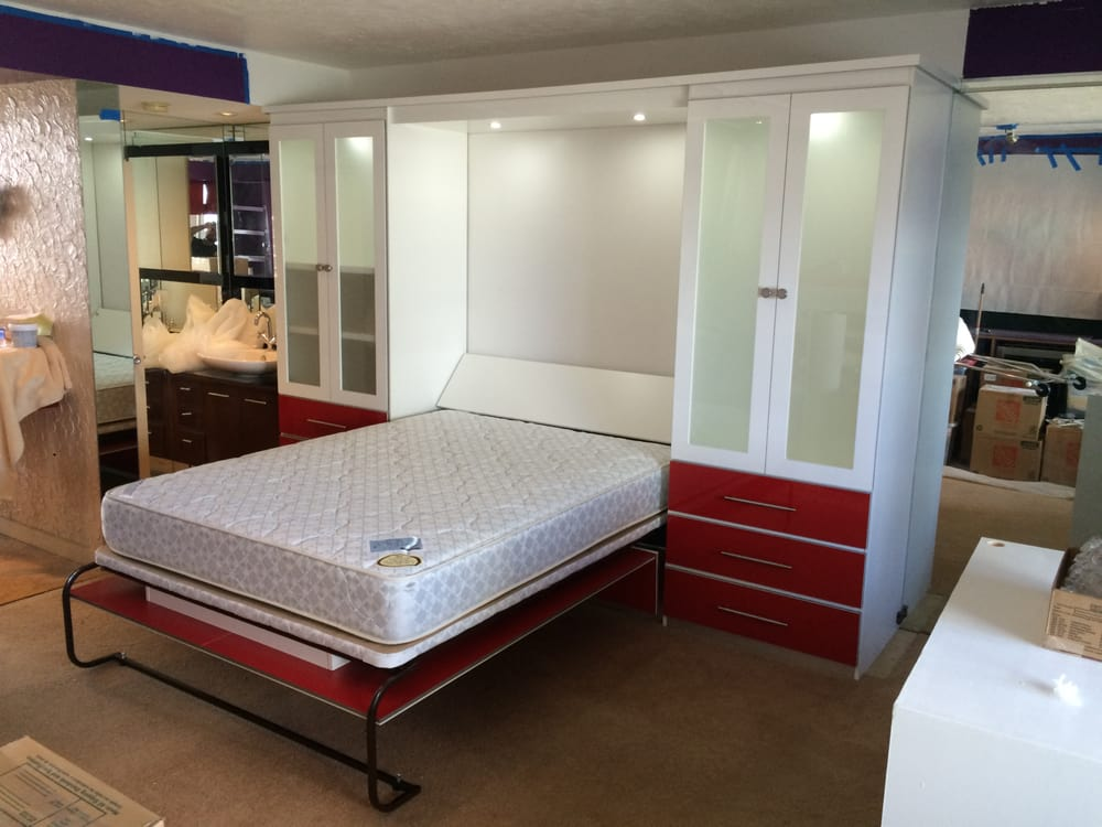 Luxe Murphy Bed In White And Red High Gloss Open Yelp