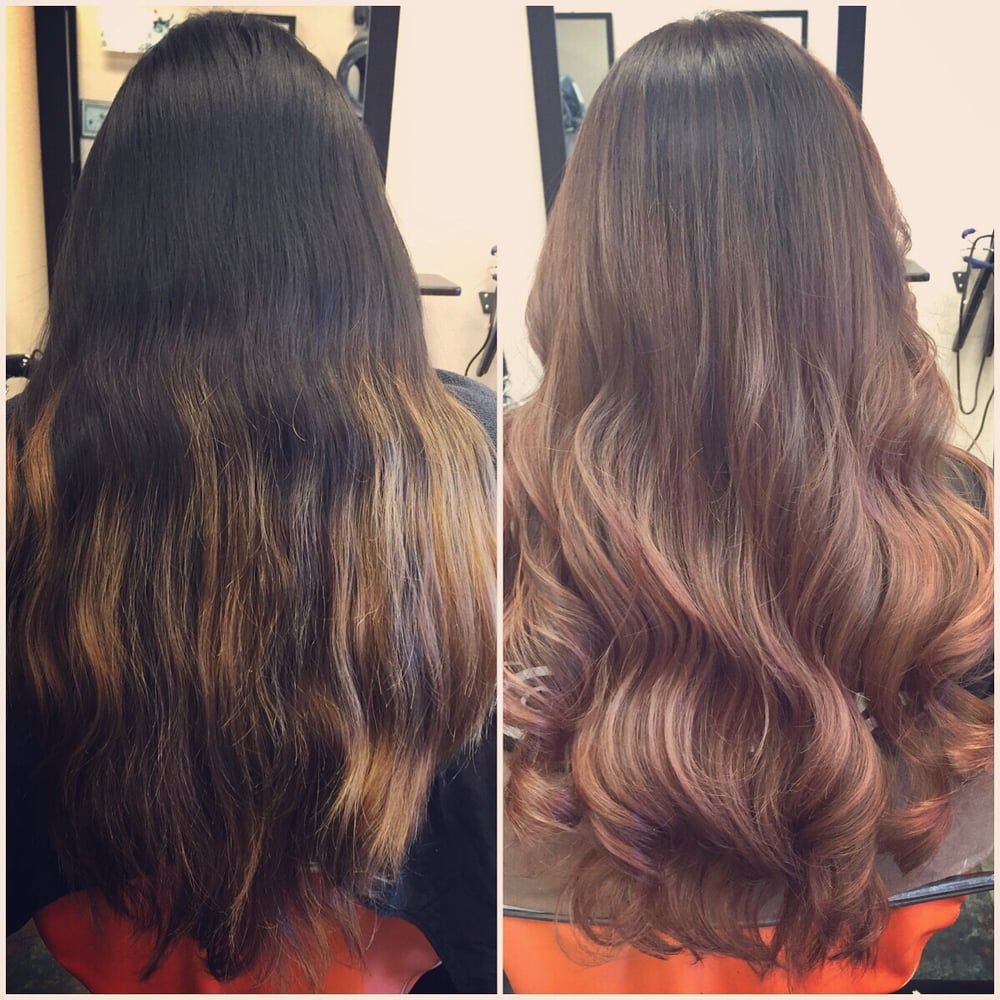 Black To Blonde Ombre To Brown To Rose Gold Balayage Ask For Lori