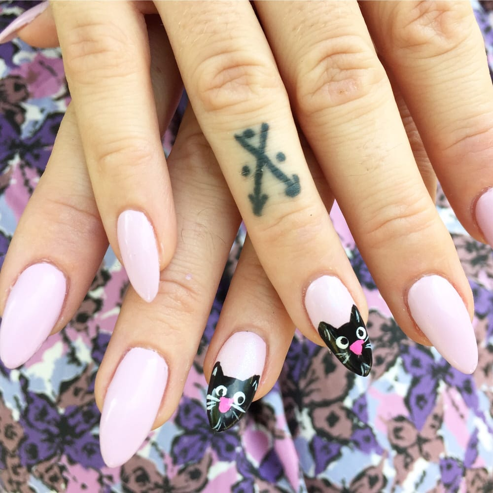 Acrylics with gel polish and kitty nail art by Amber - Yelp