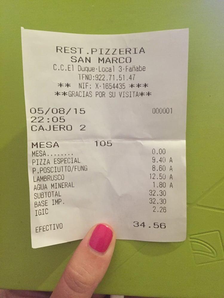 Pizzeria San Marco - Italian - C. C. El Duque, Santa Cruz de ...