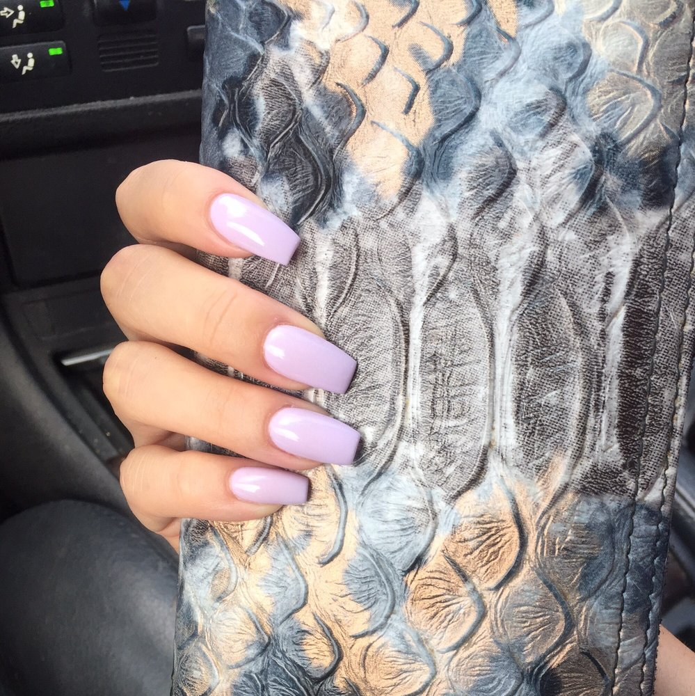 Acrylics with gel color by Tran :) coffin shaped - Yelp