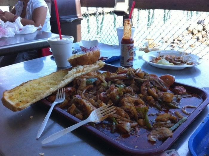 Shrimp with veggies yelp for San pedro fish market and restaurant