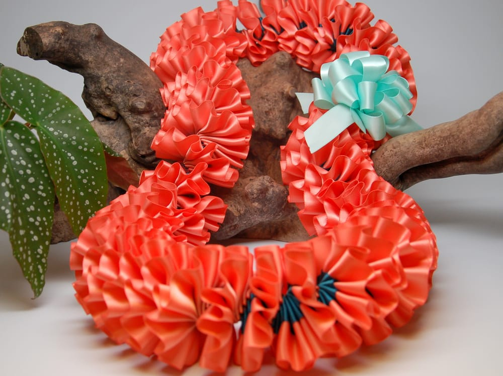 Coral And Teal Plumeria Ribbon Lei For Graduation Yelp