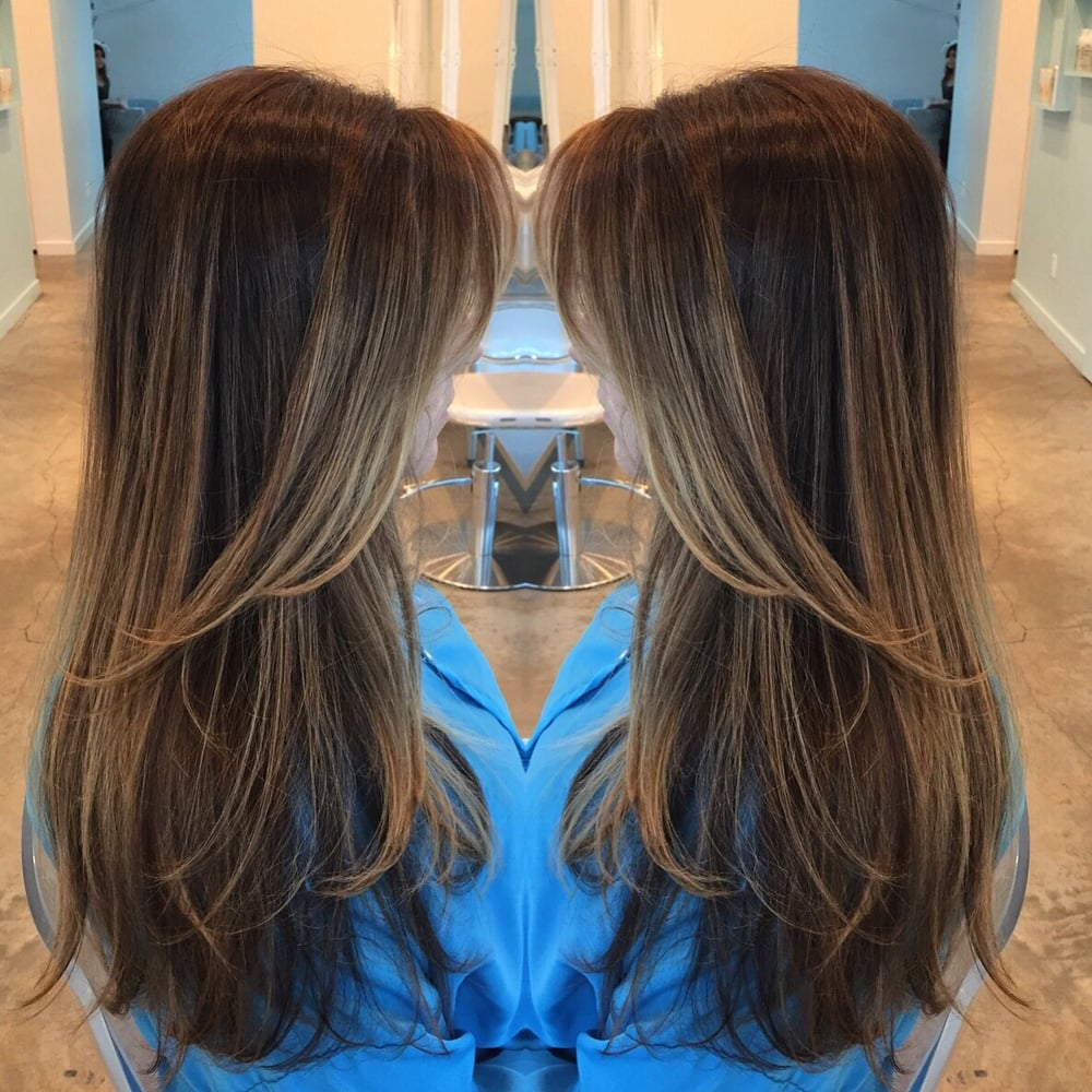 Hair by Jenn B. All over balayage highlights and color melting with ...