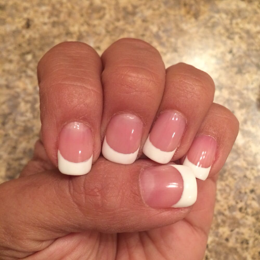 Gel French tip (pink & white) on my natural nails - Yelp