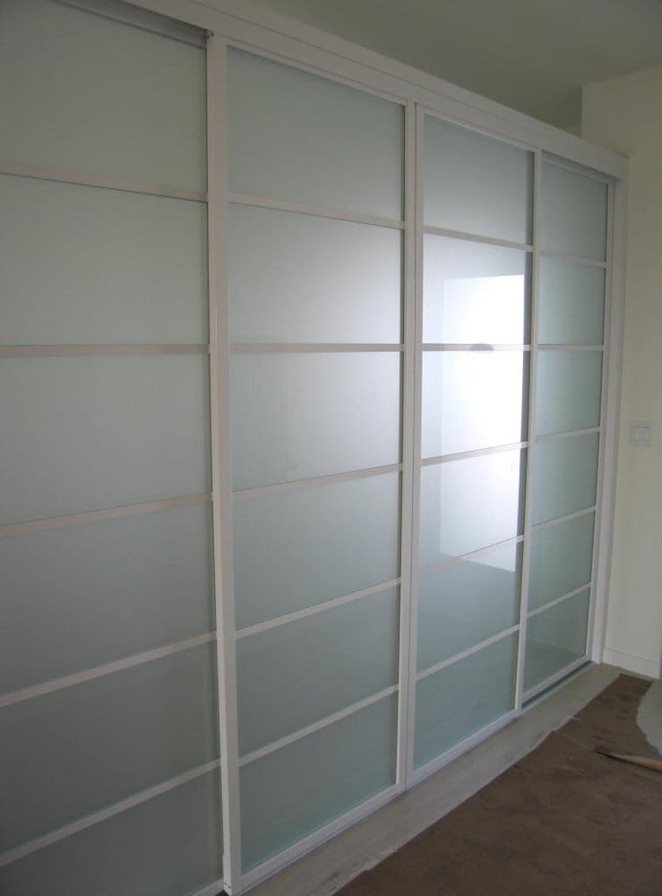Room divider in white with frosted glass yelp for Sliding door company