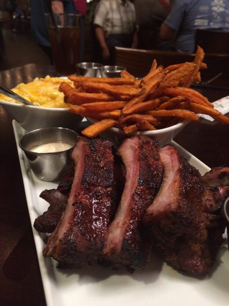 Photo of Pot Liquor CAS - Las Vegas, NV, United States. Mopped ribs, sweet potatoes and mac & cheese