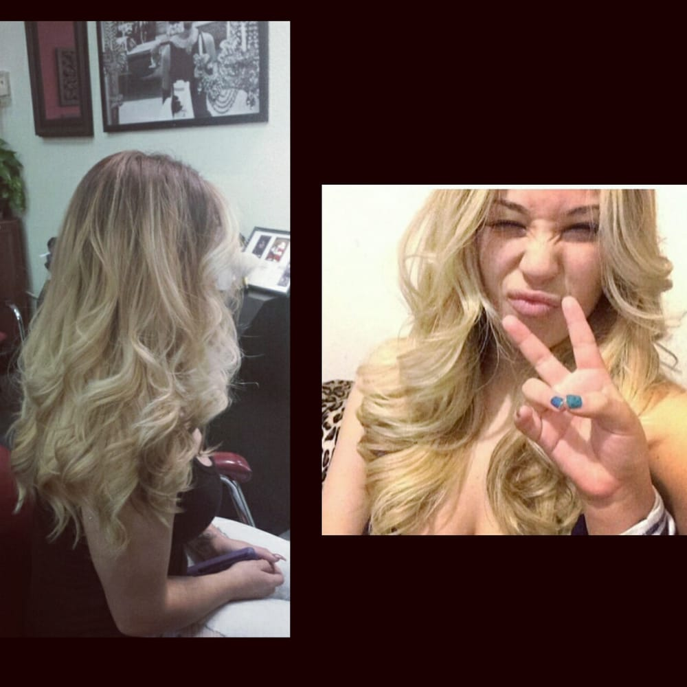 Side peek and selfie of hair beautiful blonde high ombre - The catwalk hair salon ...