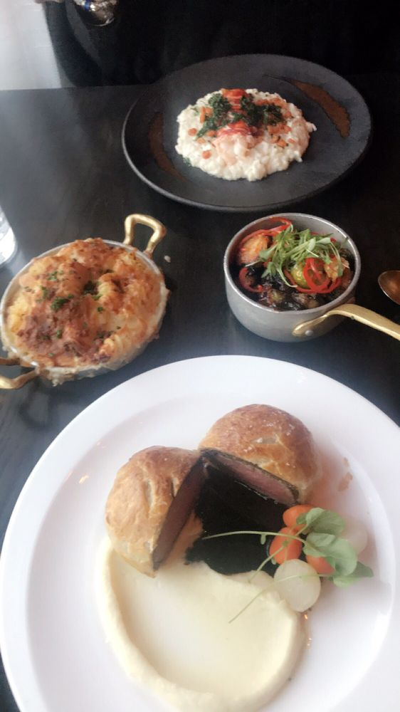 Beef Wellington Lobster Risotto Brussrl Sprouts And Mac N
