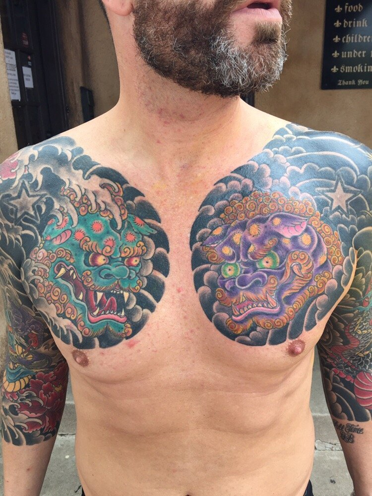 Set Of Foo-dog Chest Panels By Mark Walters