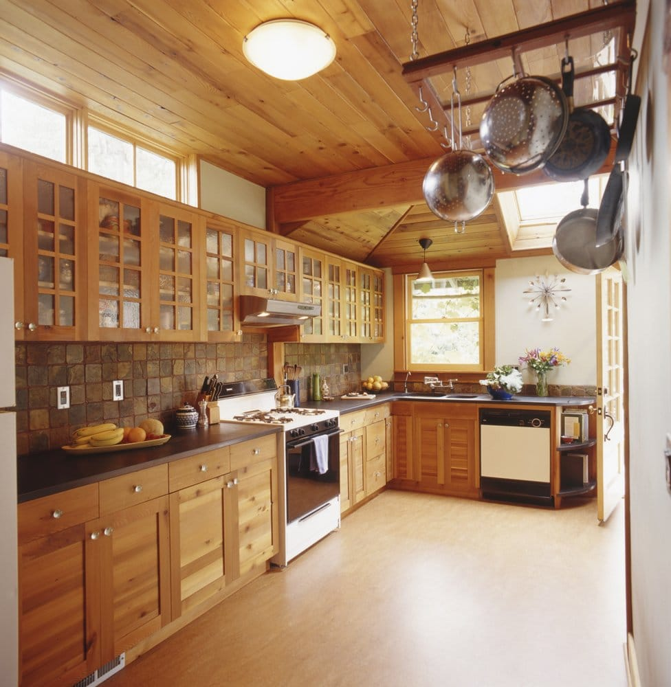 Custom reclaimed wood cabinets gives this green kitchen for Reclaimed wood portland oregon