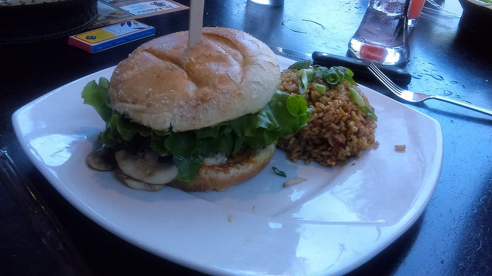 ... , CA, United States. Triple Smoke Burger with Bourbon Street Rice