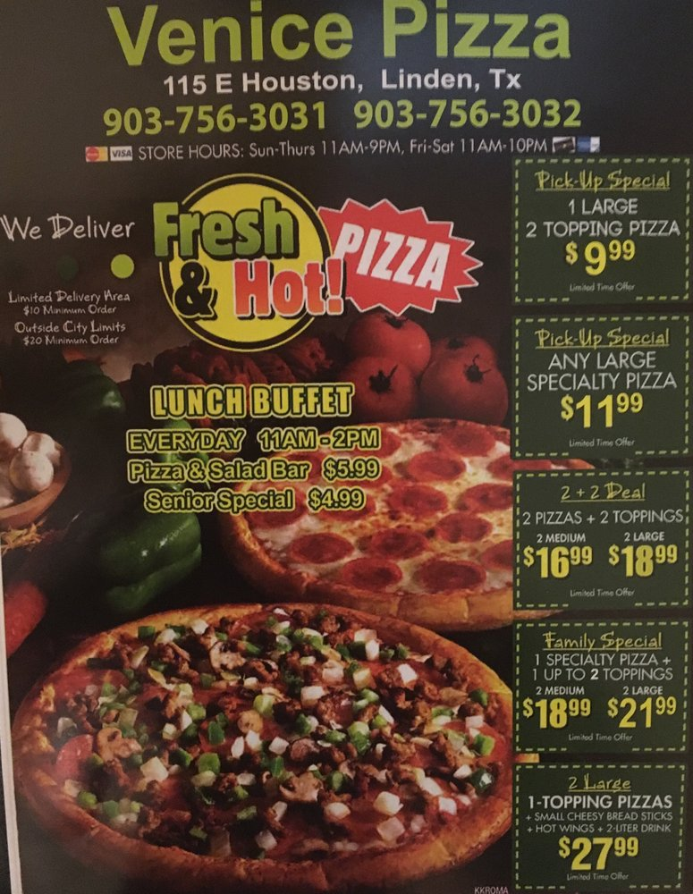 Venice Pizza: 115 E Houston St, Linden, TX