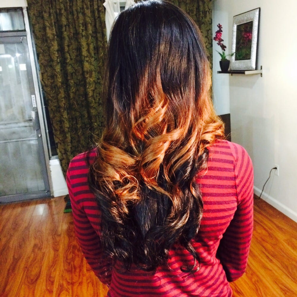 Haircare, extension installation and ombre color process by