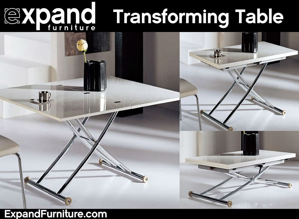 Transforming table adjusts to multiple heights and to a for Coffee tables vancouver canada